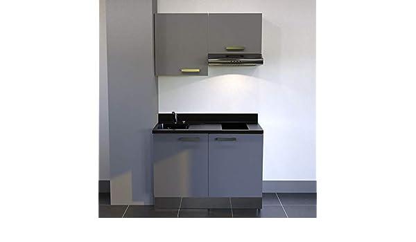 CUISIBANE Kitchenette K04 – 120 cm Tipo Libro con Tarjetero y Campana – Nero, Macadam, Armario de Izquierda: Amazon.es: Hogar