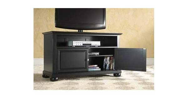 Amazon Com Tv Stands For Flat Screens 42 Black Wood With Cabinet
