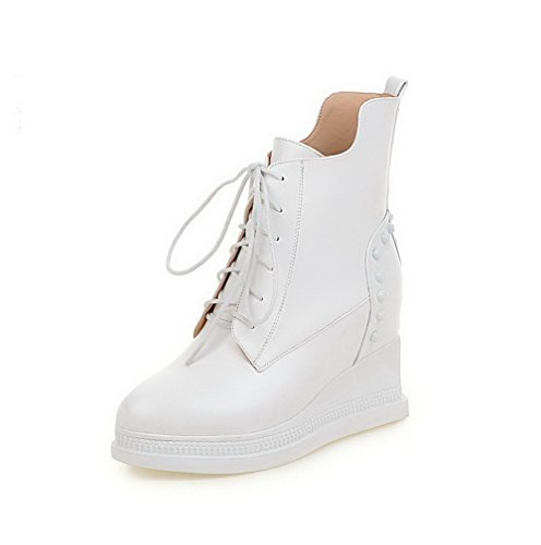 AgooLar Women's Lace-up High Heels Pu Solid Low Top Boots White 9Y8dgi99D