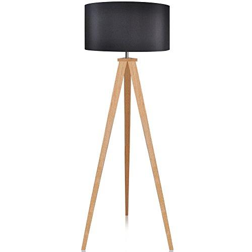 LEPOWER Wood Tripod Floor Lamp, Black Lamp Shade Standing Light with E26 Lamp Base, Modern Design Reading Light for Living Room, Bedroom, Study Room and Office (Wooden Reading Lamp)