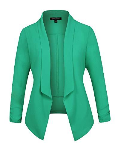 Michel Women's 3/4 Sleeve Blazer Casual Open Front Cardian Jacket Work Office Blazer Jade Medium