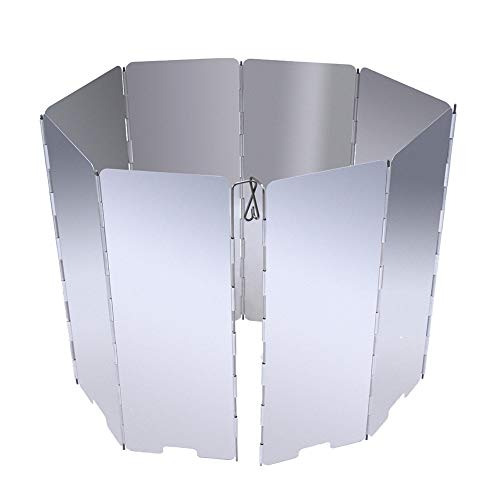 NiceButy 8 Plates Aluminum Alloy Outdoor Foldable Camping Cooker Stove Wind Screen Windshield Silver