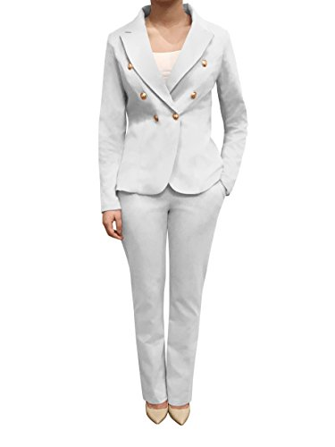 Womens Double Breasted Gold Button Front Blazer Jacket(White,X-Large)