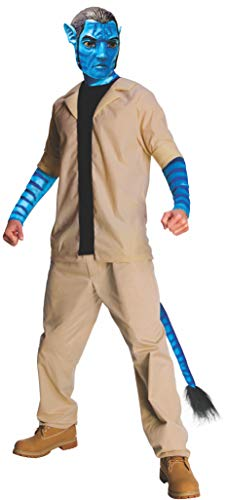 Avatar Jake Sully Costume And Mask, Blue, ()