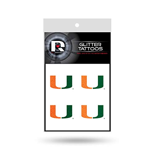 NCAA Miami Hurricanes Rico Industries Glitter Tattoos ()