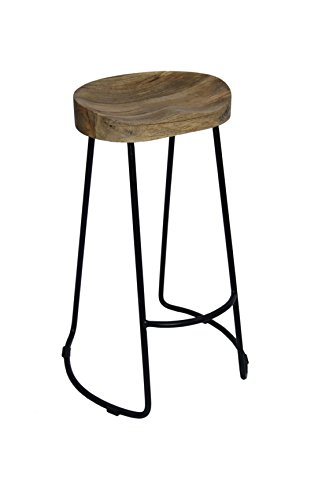 The Urban Port Brand Classy Wooden Barstool with Iron Legs - Brands Classy