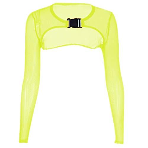 Women's Long Sleeve See-Through Sheer Mesh Crop Top Buckle Summer Top Cover Ups (S, Yellow) ()