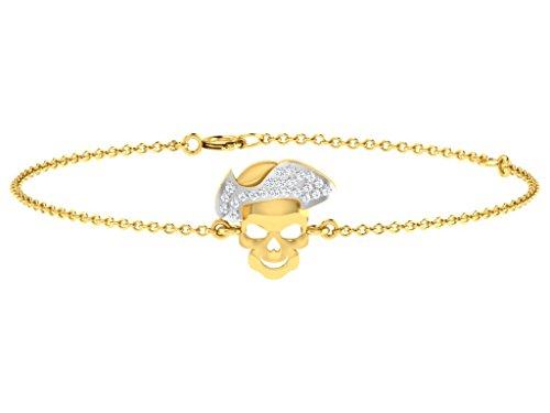 Or Jaune 9 ct Bracelet Diamant en forme de crâne, 0.05 Ct Diamant, GH-SI, 2.01 grammes.
