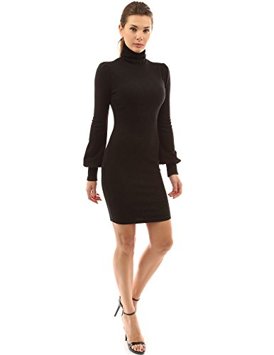 PattyBoutik Women Long Sleeve Sweater Dresses Bishop Sleeve Turtleneck Sweaters Dress Women