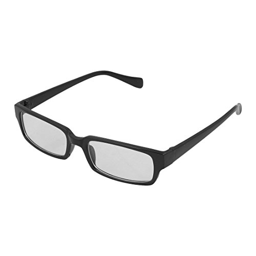 Rim Full Plastic (uxcell® Unisex Black Rectangle Plastic Full Rim Clear Lens Glasses Eyeglasses Spectacles)