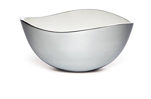 Savora Dimple Aluminum and Enamel Serving Bowl, 12-Inch, Snow
