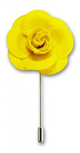 Men's Lapel Flower Handmade Boutonniere Pin for Suit – Exotic Rose by Puentes  Co (Yellow)