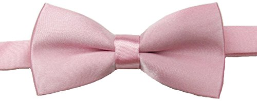 Adjustable Boys Bow Tie Solid Pre Tied for Wedding Party Dress up Pink