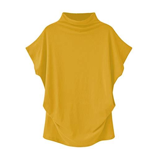Women Turtleneck Short Sleeve Cotton Solid Casual Blouse Top T Shirt Plus Size