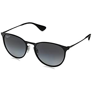 Ray-Ban Erika Metal Polarized Round Sunglasses, Shiny Black, 54 mm