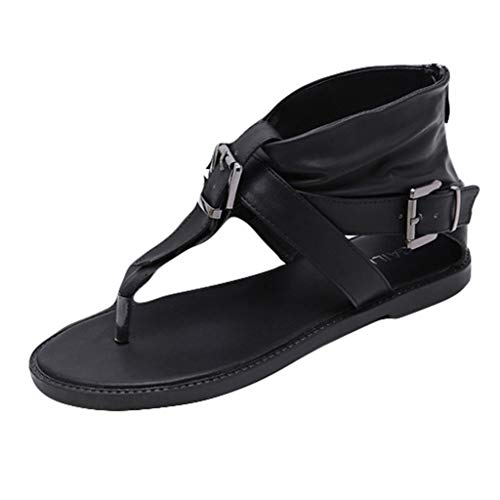 (Sunhusing Ladies Belt Buckle Buckle Clip Toe Sandal Casual Zipper Closure Flat Bottom Roman Sandals Black)