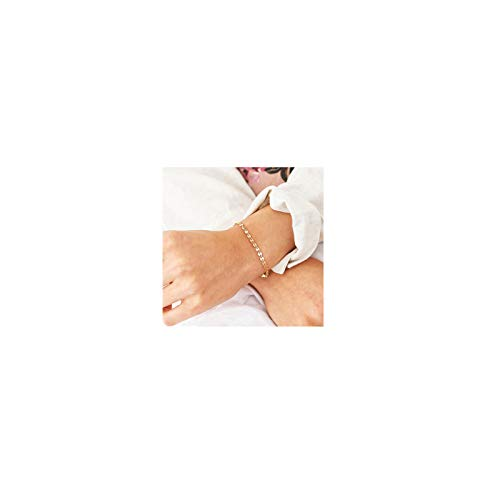 Dainty Gold Coin Chain Bracelet,Simple Delicate Round Coin Chain Layering Link Bracelets for Women