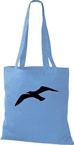 ShirtInStyle Bolso de tela Bolsa de algodón Vela Motivo Gaviota azul claro