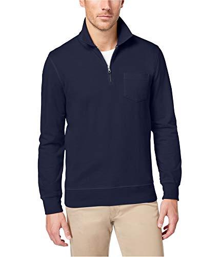 Club Room Mens Quarter Zip Knit Casual Shirt Navy L from Club Room