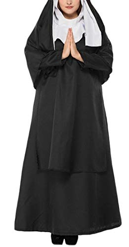 WSPLYSPJY Halloween Nun Costume for Women Halloween Cosplay Costumes Outfit Robe Black XS ()