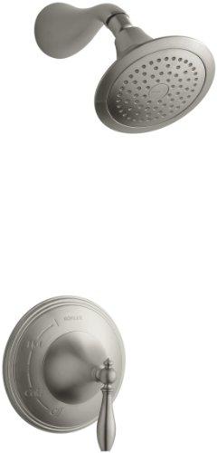 KOHLER K-T313-4M-BN Finial Traditional Rite-Temp Pressure-Balancing Shower Faucet Trim, Vibrant Brushed (Shower Trim Finial)