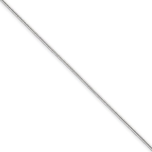 0.8mm, Sterling Silver Round Snake Chain Necklace, 24 Inch