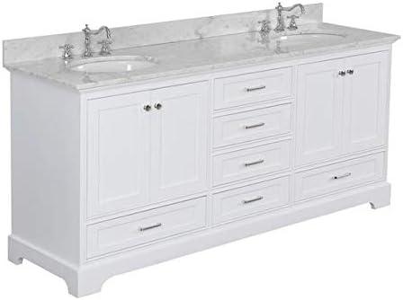 Amazon.com: Harper 72 inch Double Bathroom Vanity (Carrara/White