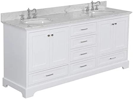 Harper 72-inch Double Bathroom Vanity Carrara White Includes White Cabinet with Authentic Italian Carrara Marble Countertop and White Ceramic Sinks