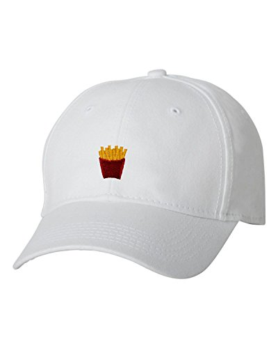 White French Hat - Go All Out Adjustable White Adult French Fry Embroidered Dad Hat Structured Cap