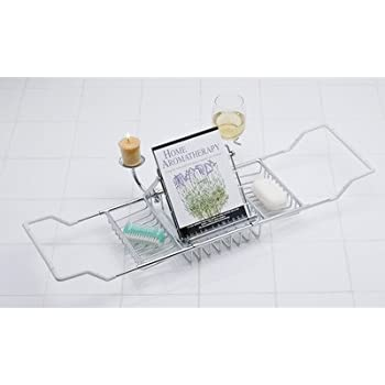 Amazon.com: Taymor Chrome Bathtub Caddy with Candle Holder and Wine ...