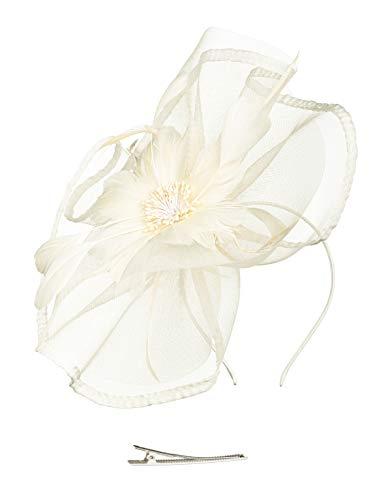 Fascinators Hat for Women Tea Party Headband Fancy Dress Accessories Wedding Cocktail Flower Mesh Feathers Hair Clip (Z-Beige) -