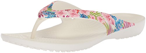 Crocs Women's Kadee II Graphic Flip Flop, Tropical Floral/Wh