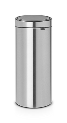 Brabantia 115462 New, 30L / 8 Gal. Soft-Touch Trash Can 8 gallon Matt Steel ()