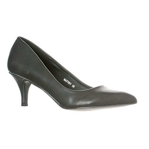 Riverberry Women's Katy Pointed, Closed Toe Low, Kitten Heel Pumps, Black PU, 9
