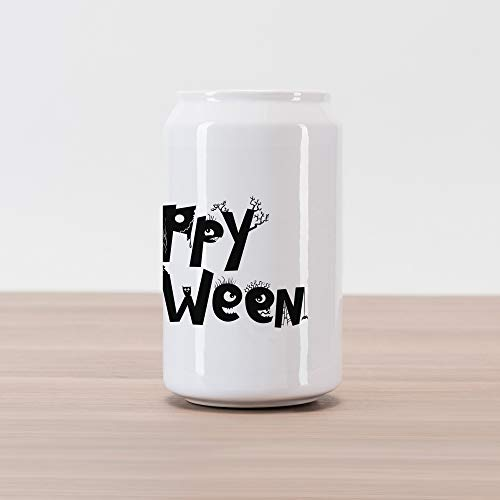Lunarable Halloween Cola Can Shape Piggy Bank, Happy Halloween Quoted Letters as Spooky Shapes Simplistic Illustration, Ceramic Cola Shaped Coin Box Money Bank for Cash Saving, Charcoal Grey White