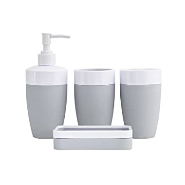 JustNile Plastic Rubber 4-Piece Bathroom Accessory Set - Modern Grey