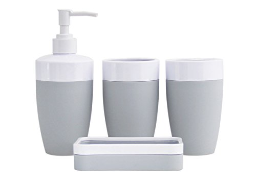 Plastic Rubber 4 Piece Bathroom Accessory Set   Modern Grey
