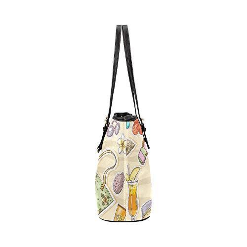 Vardagliga axelväskor tecknad söt strandfärg solhatt läder handväskor väska orsaksala handväskor dragkedja axel organiserare för dam flickor kvinnor tonåringar crossbody väskor