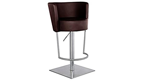 Sgabello in similpelle e acciaio inox spazzolato altezza seduta 64