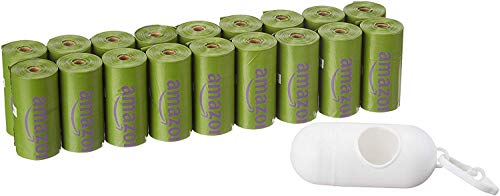 Amazon Basics Scented Dog Poop Bags with Dispenser and Leash Clip, Standard and EPI Additive
