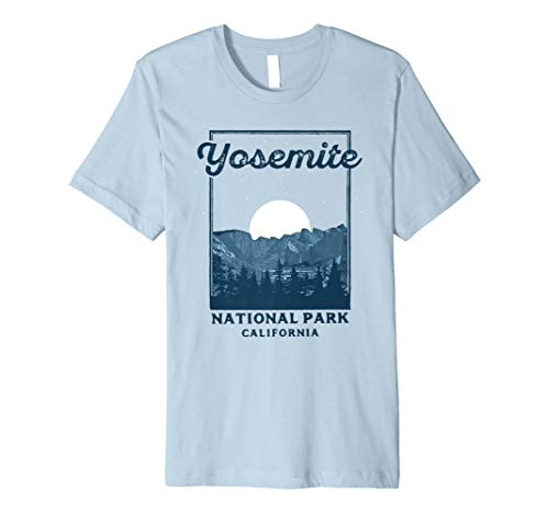 Mens Retro Yosemite National Park Shirt - Valley at Night Large Baby Blue -