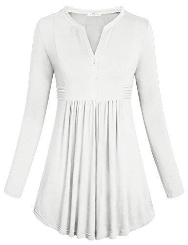 SeSe Code Tunic for Women, Ladies Long Sleeve Concise Mandarin Collar Stretchy Knit Cotton Shirts Pleated Button Flare Hem Empire Waist Comfy Slim Tops White Medium - Knit Mandarin Collar