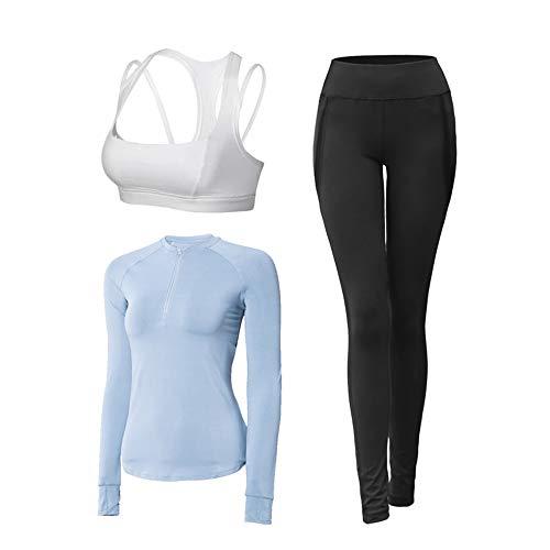 Gohbqany Women's Activewear Sets Women's Sports Suit 3pc/Sets Bra +Long Sleeve + Leggings Elasticity Fitness Suits for…