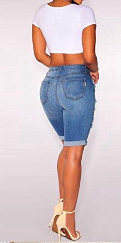 Vita Al Ginocchio Buco Skinny Marino Denim Pantaloncini Blu Alta Strappato Donne Jeans 7qdT6C6w