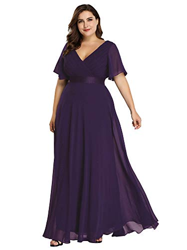 Women's Vintage Wedding Bridesmaid Evening Long Dress Plus Size Purple US26