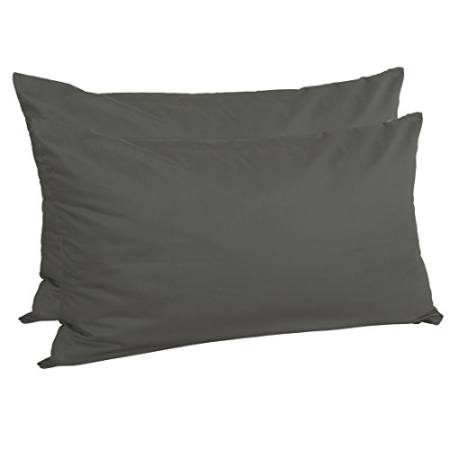 uxcell Zippered King Pillow Cases Pillowcases Covers Protectors, Egyptian Cotton 300 Thread Count, 20 x 36 Inch, Dark Gray, Set of 2