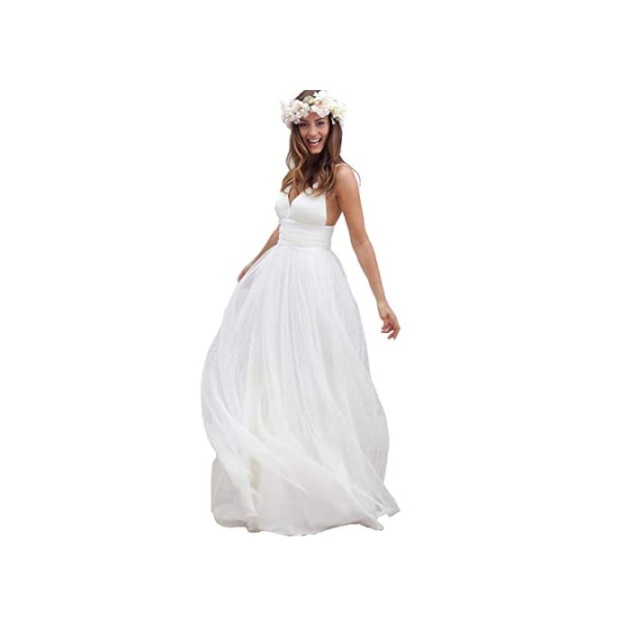 Aries Tuttle Simple Soft Chiffon Beach Wedding Dress White Ivory Bridal Gown