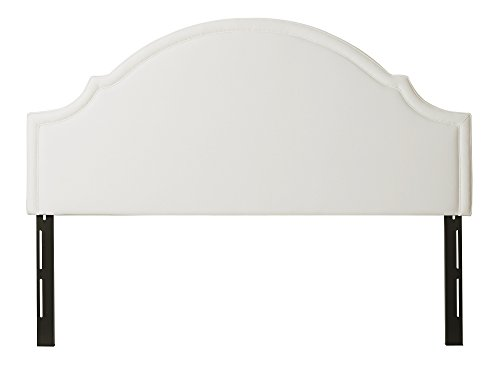 Jennifer Taylor Home Catherine Collection Antique White Upholstered Camel Back Luxury King Size Size Headboard With Trim, King Size, Star White