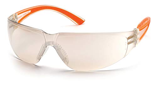 - Pyramex Cortez Safety Eyewear, Indoor/Outdoor Mirror Lens With Orange Temples