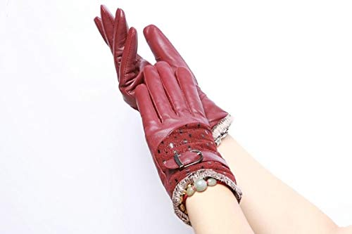 1 Pc (1 Pair) Women Leather Winter Gloves Velvet Sheepskin Unisex Mens Girls Toddler Excelling Popular Extreme Gym Baseball Cycling Tactical Work Hand Wrist Straps Dryer Touch Glove
